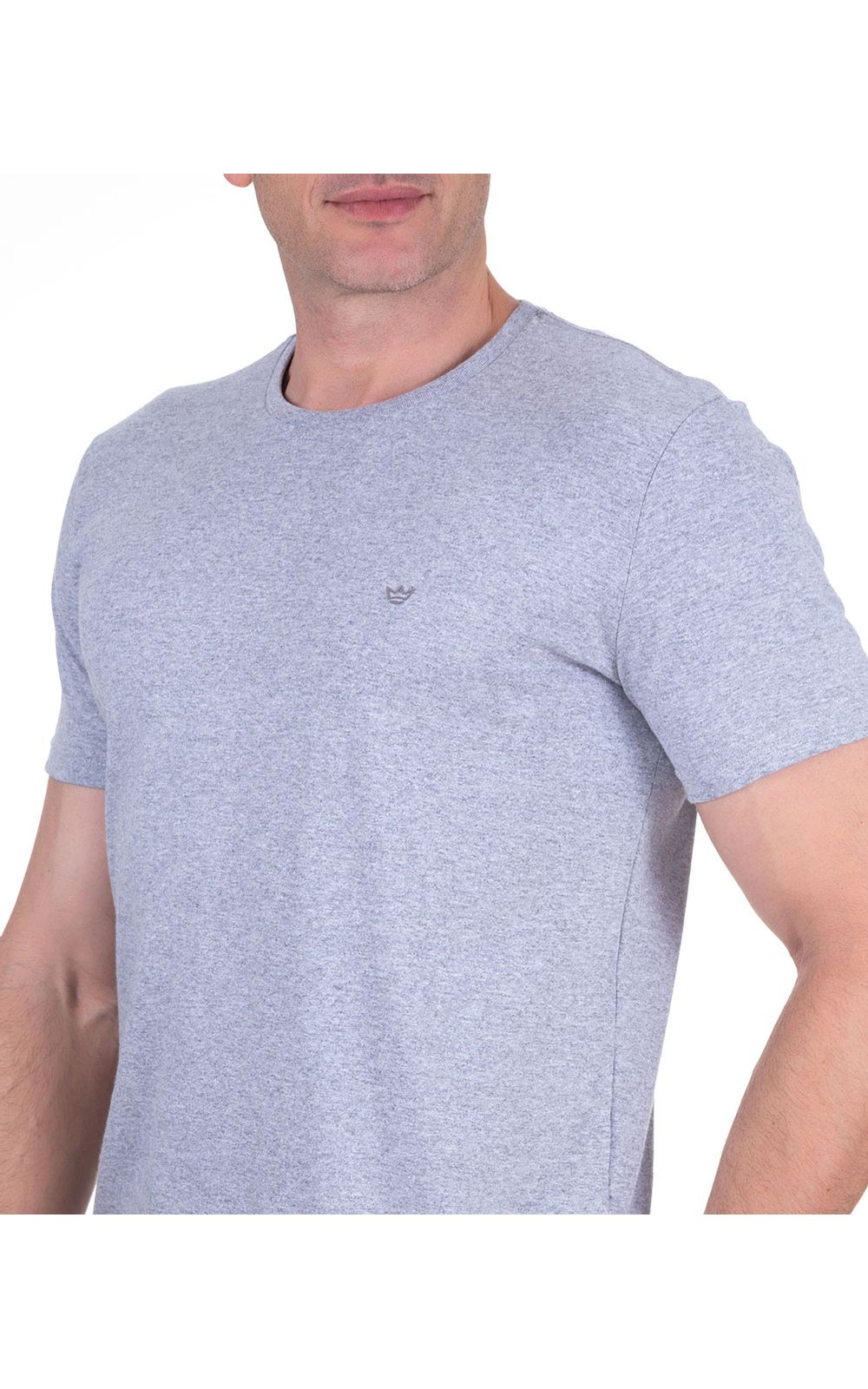 Foto 3 - Camiseta Masculina Cinza Lisa