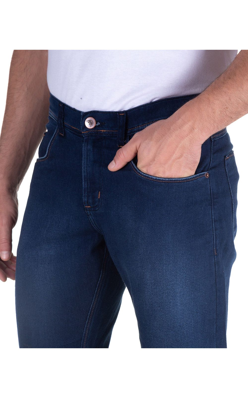 Foto 3 - Calça Jeans Masculina Azul Lisa