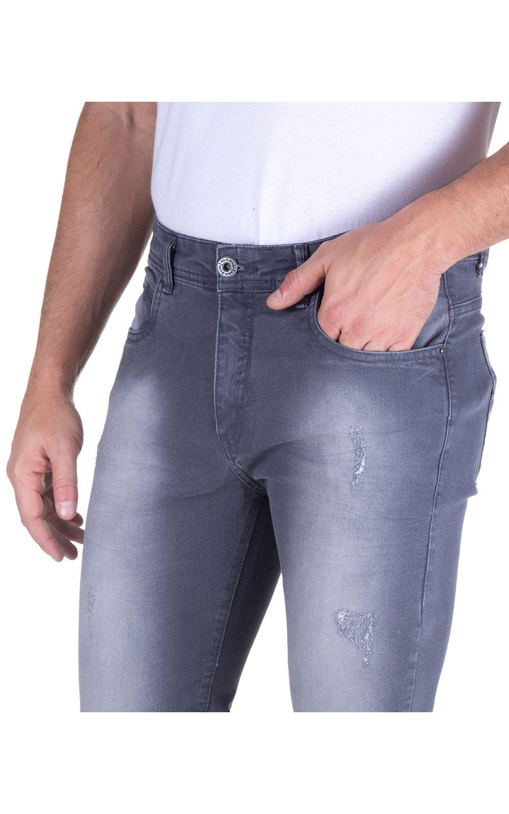Foto 3 - Calça Jeans Masculina Cinza Lisa