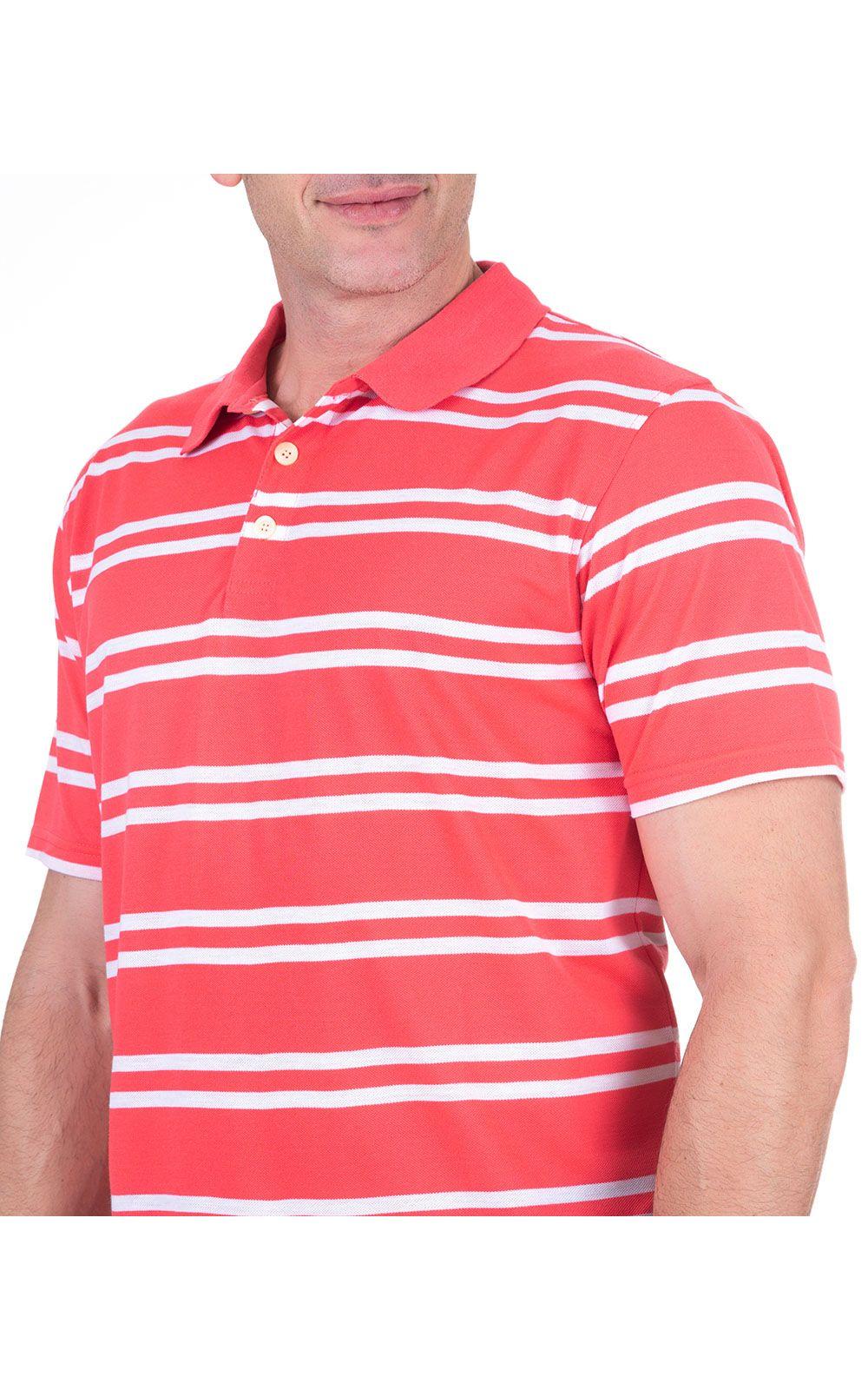 Foto 3 - Camisa Polo Masculina Vermelha Listrada