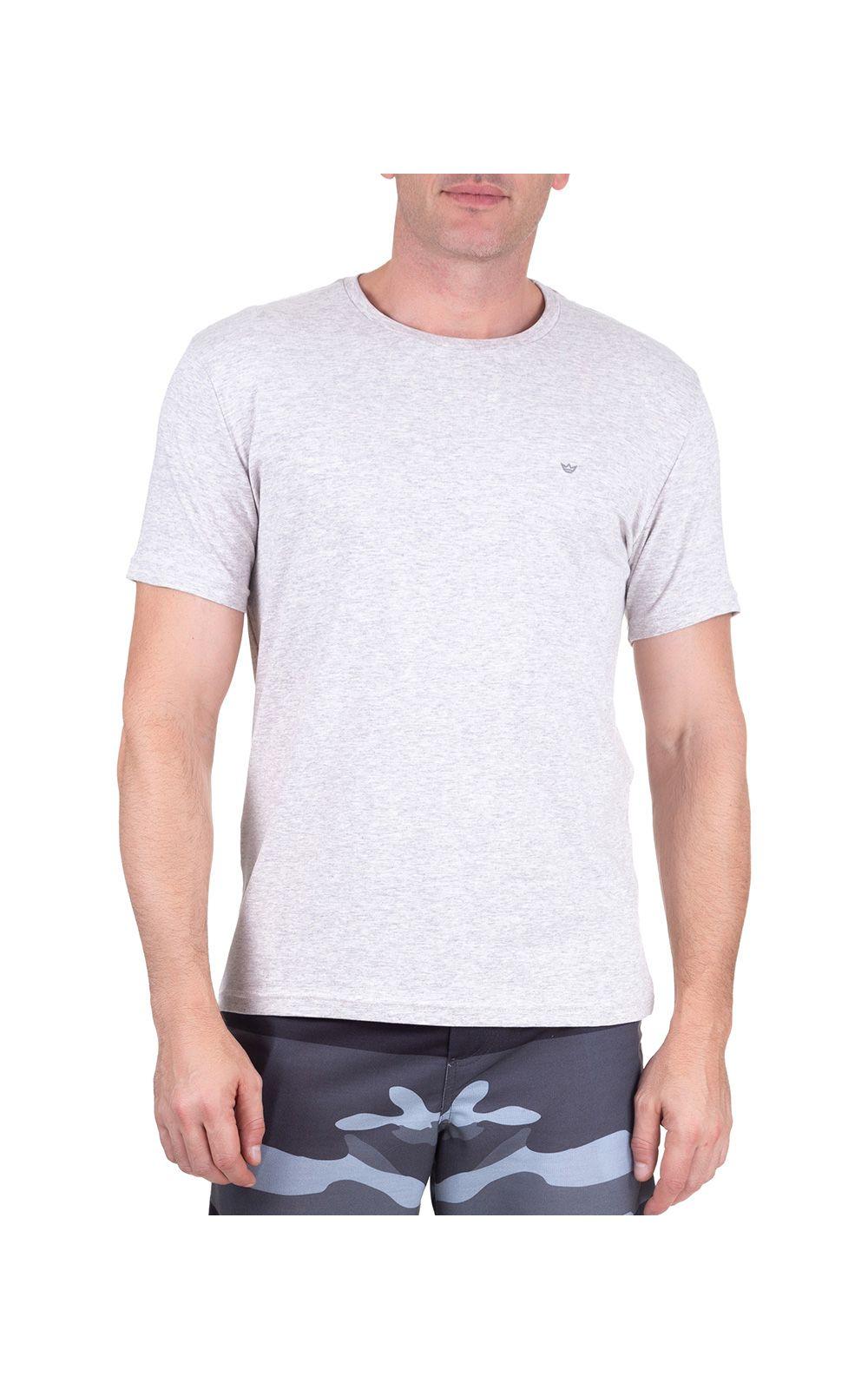 Foto 1 - Camiseta Masculina Cinza Claro Lisa