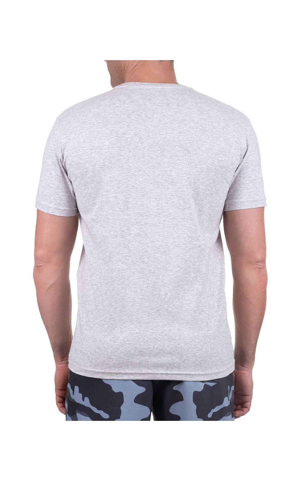 Foto 2 - Camiseta Masculina Cinza Claro Lisa