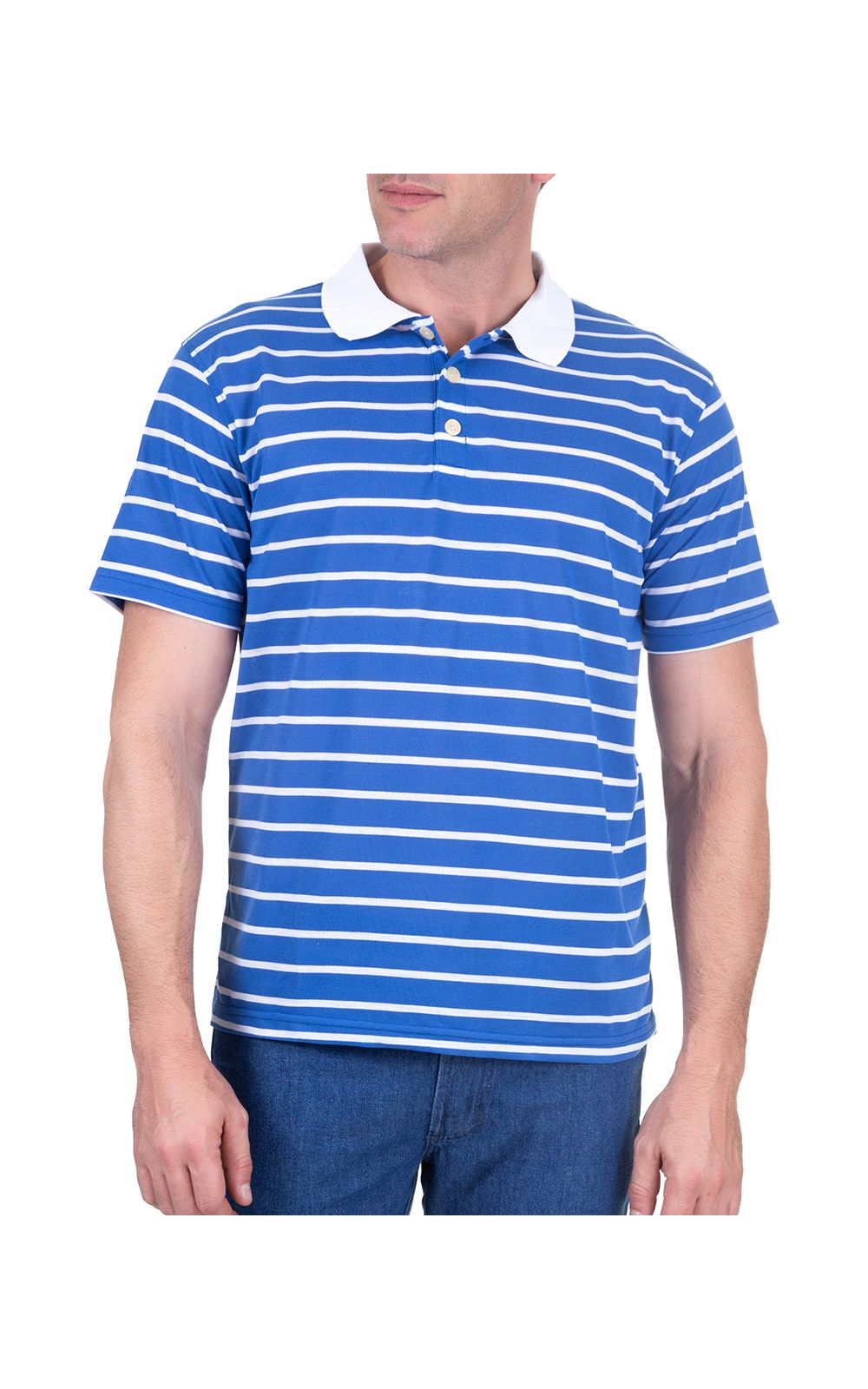 Foto 1 - Camisa Polo Masculina Azul Listrada
