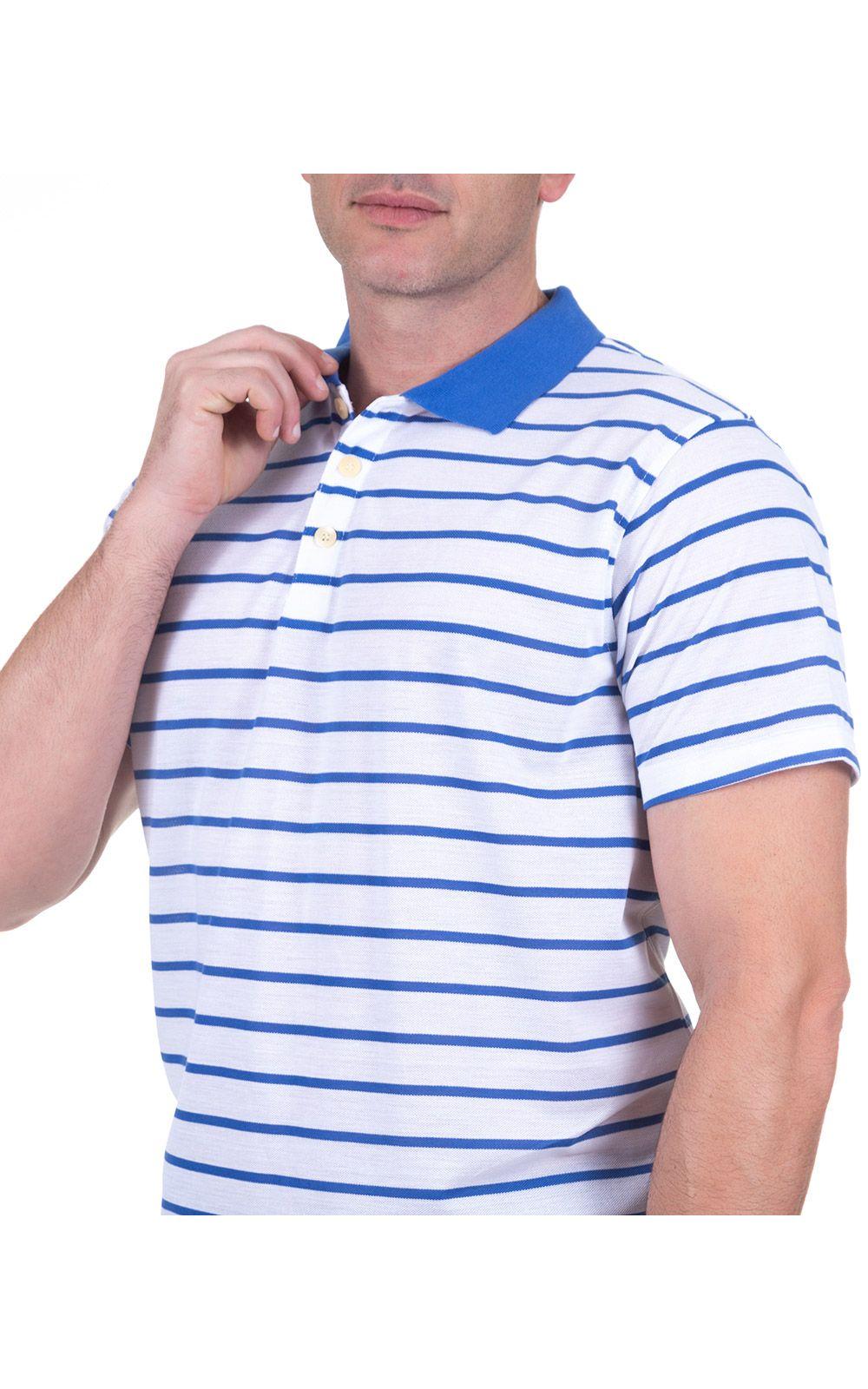 Foto 3 - Camisa Polo Masculina Azul Listrada
