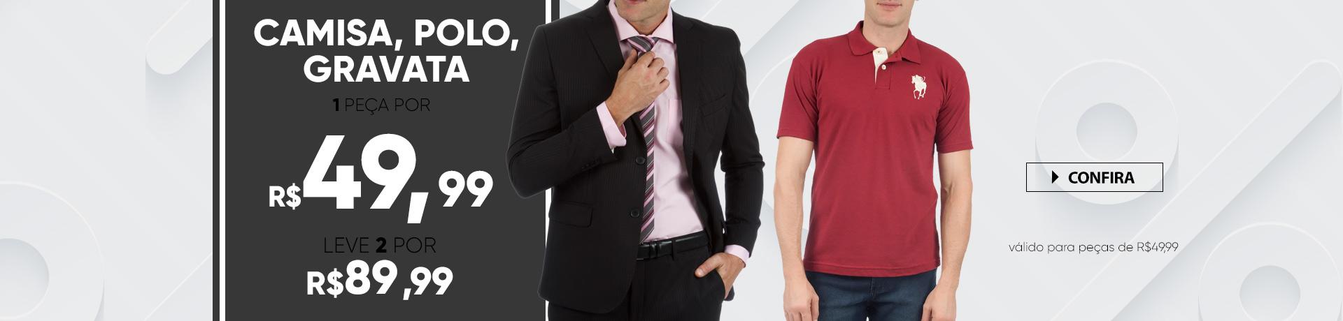 Camisa, Polo, gravata por 89,99