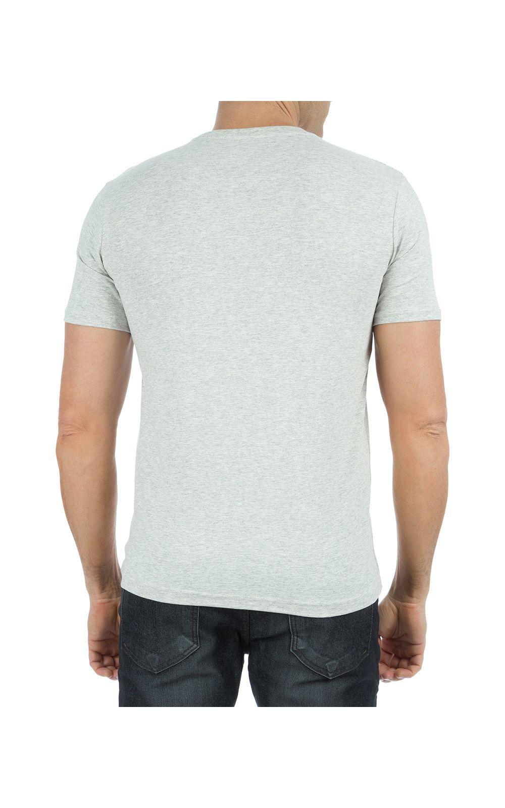 Foto 2 - Camiseta Masculina Cinza Claro