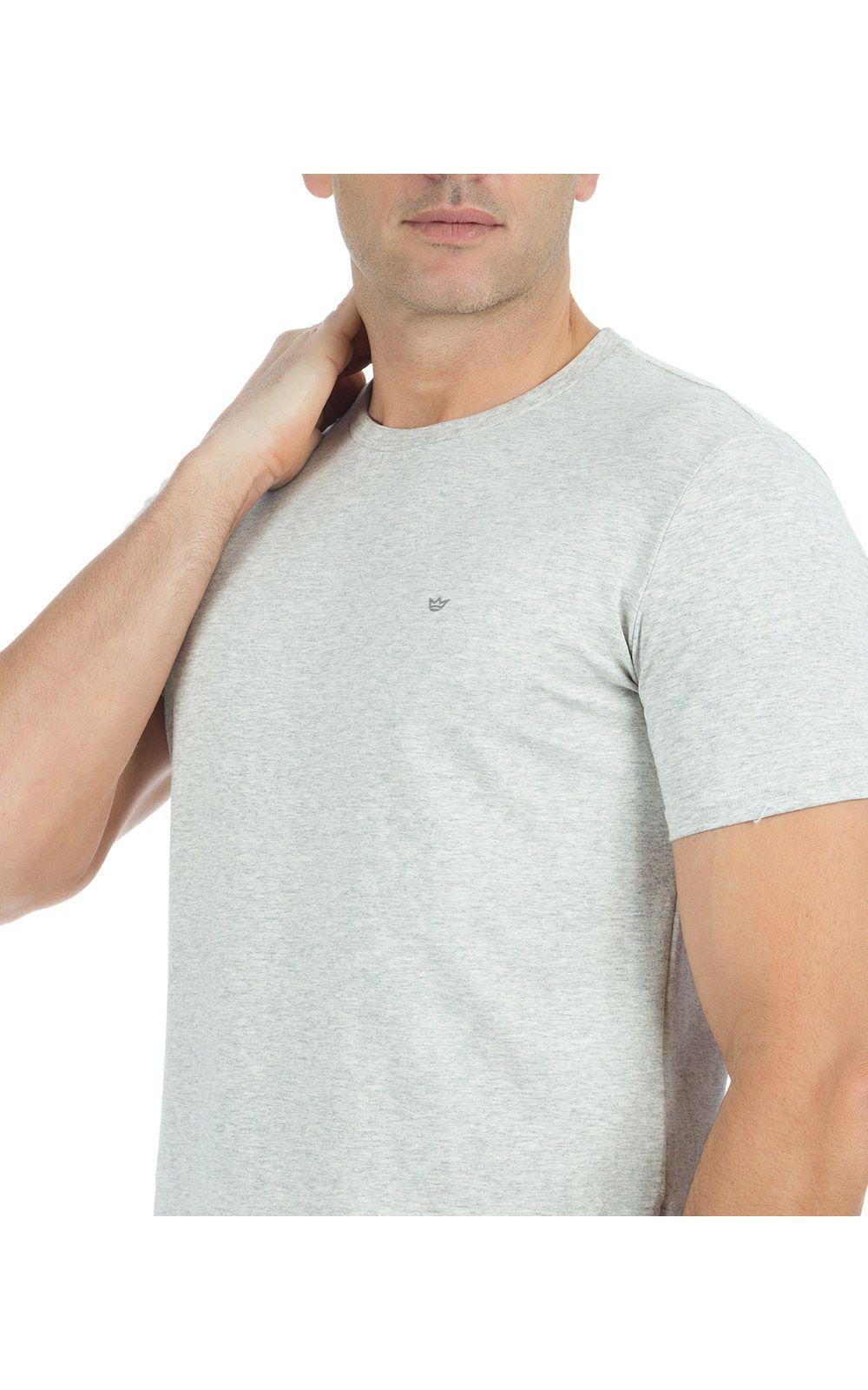 Foto 3 - Camiseta Masculina Cinza Claro