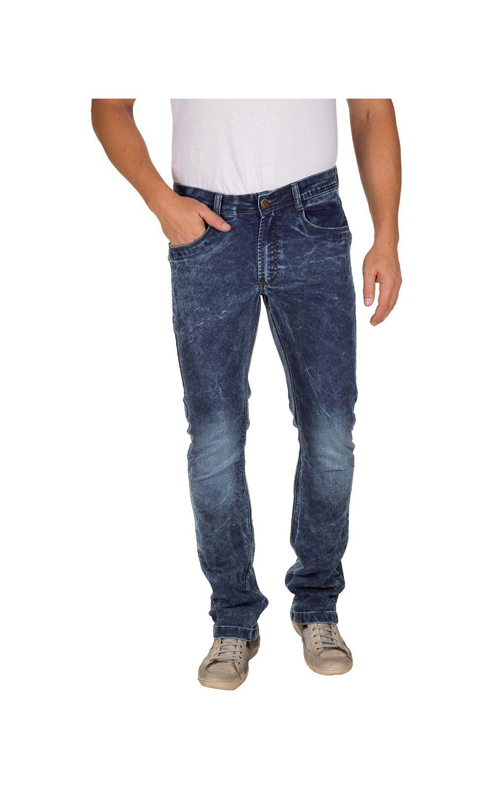 Foto 1 - Calça Jeans Masculina Azul Escuro Texturizada