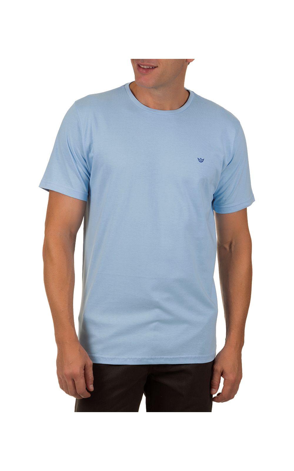 Foto 1 - Camiseta Masculina Azul Claro Lisa