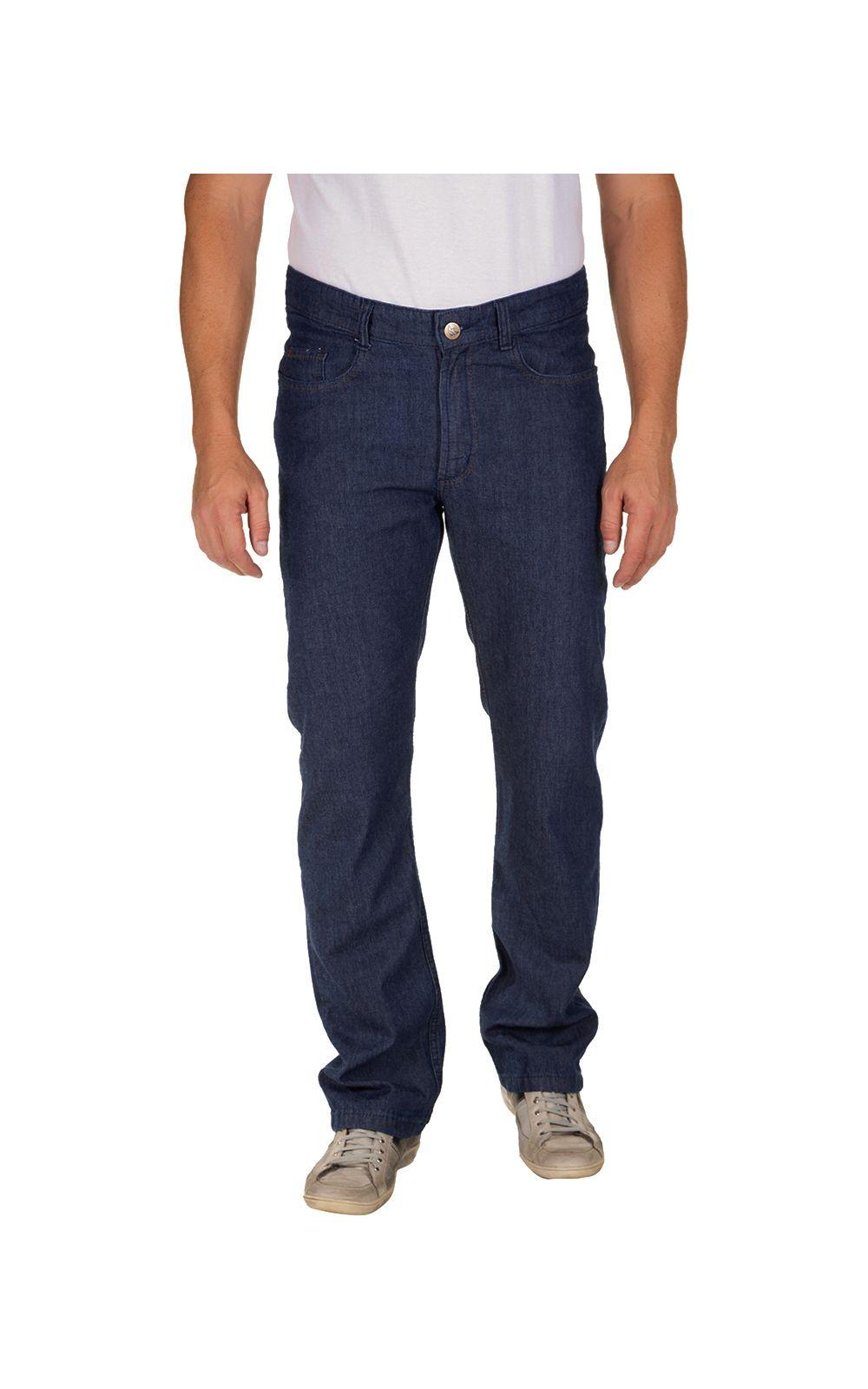 Foto 1 - Calça Jeans Masculina Azul Escuro Lisa