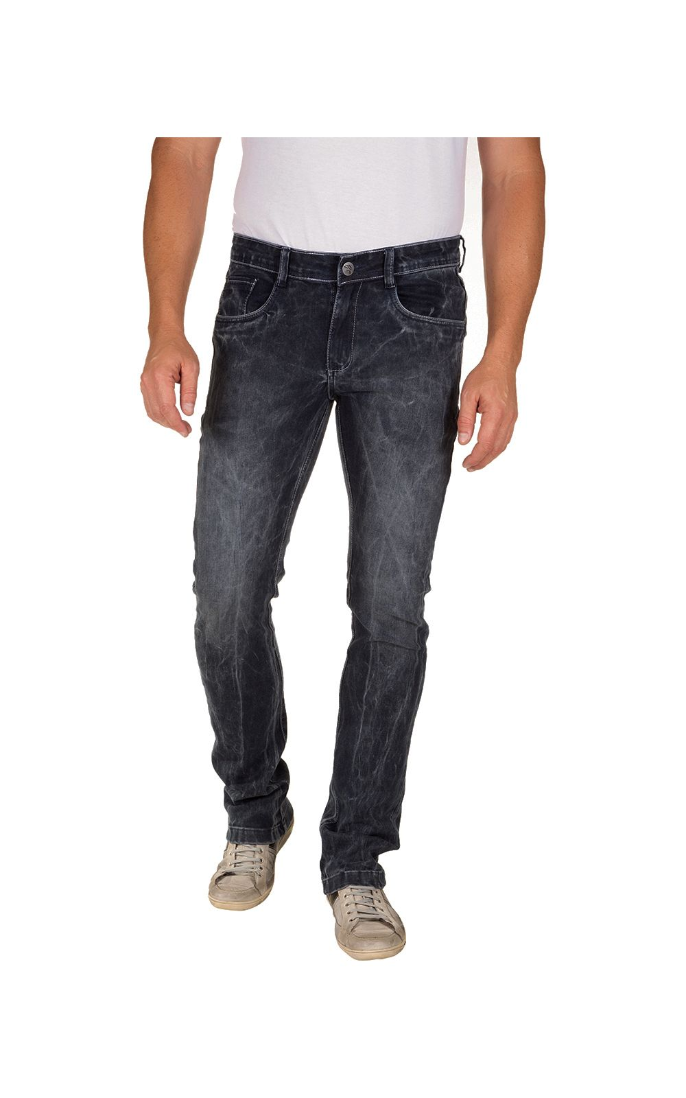 Foto 1 - Calça Jeans Masculina Preta Texturizada