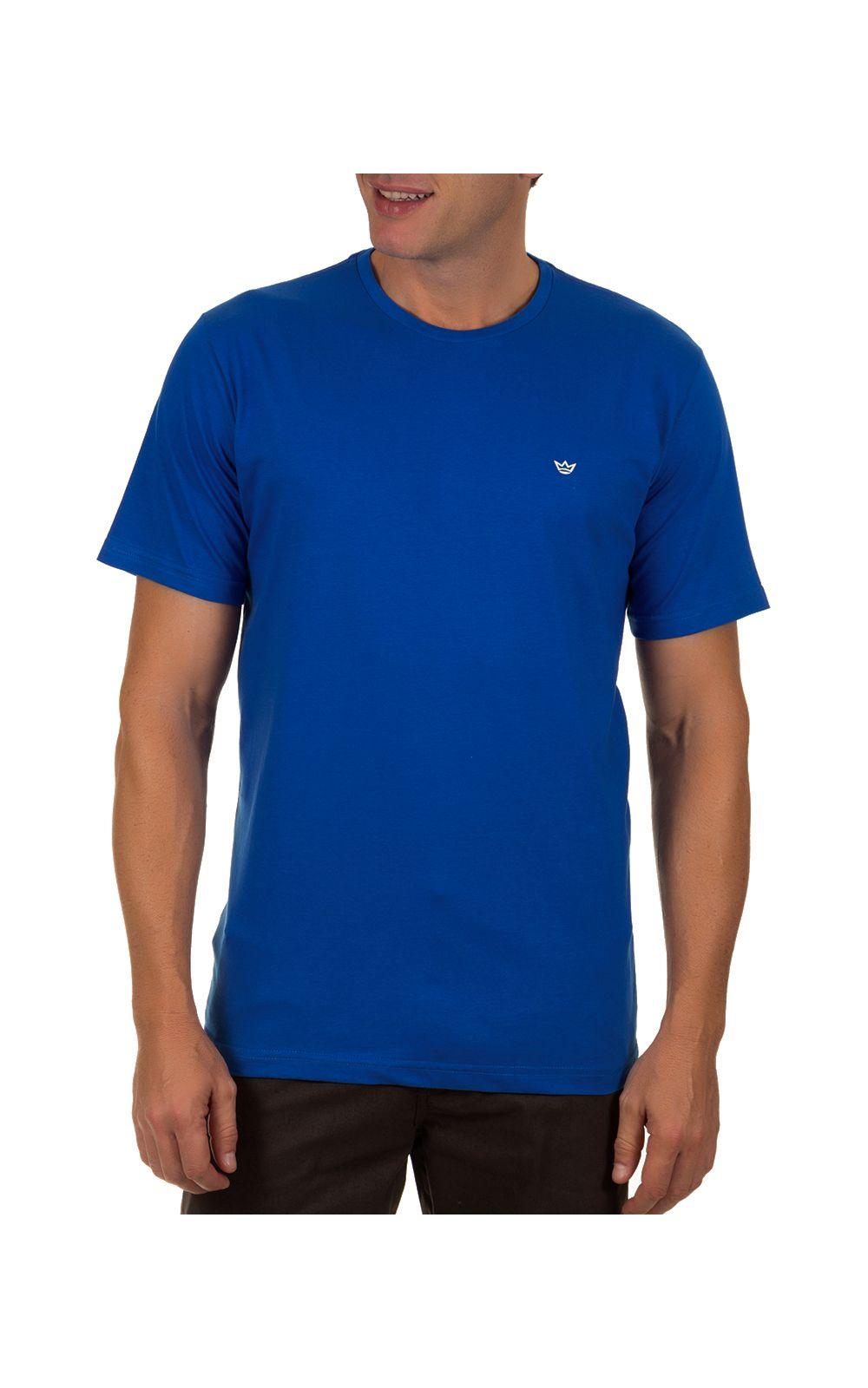 Foto 1 - Camiseta Masculina Azul Escuro Lisa