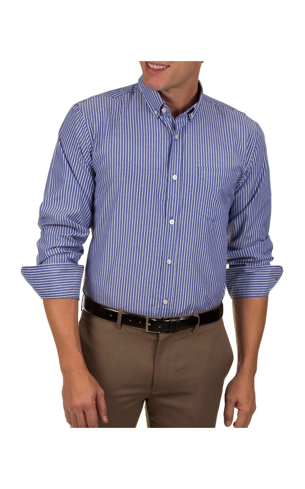 Foto 1 - Camisa Social Masculina Azul Escuro Listrada