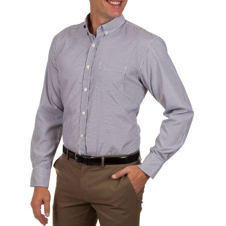 Camisa Social Masculina Azul Escuro Listrada