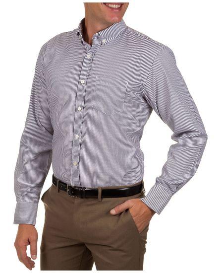 Camisa-Social-Masculina-Azul-Escuro-Listrada