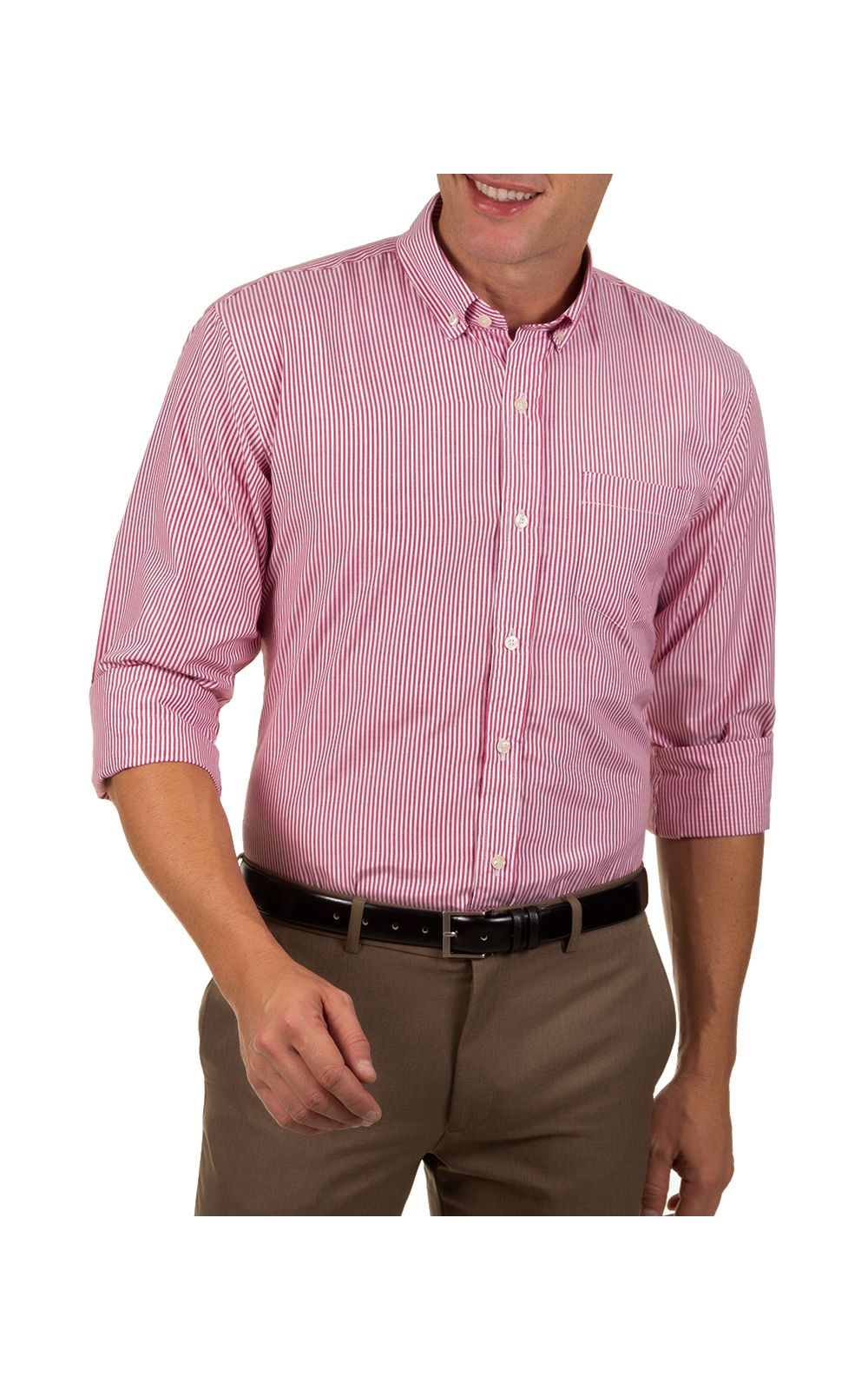 Foto 1 - Camisa Social Masculina Vermelho Listrada