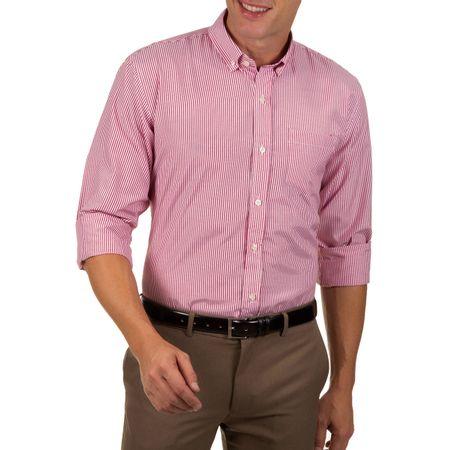Camisa Social Masculina Vermelho Listrada