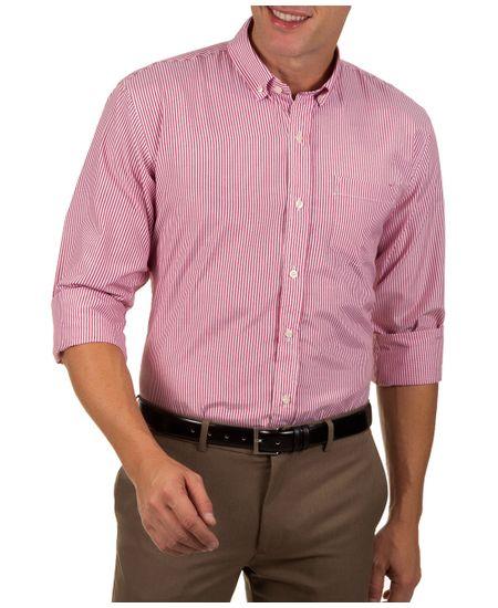Camisa-Social-Masculina-Vermelho-Listrada