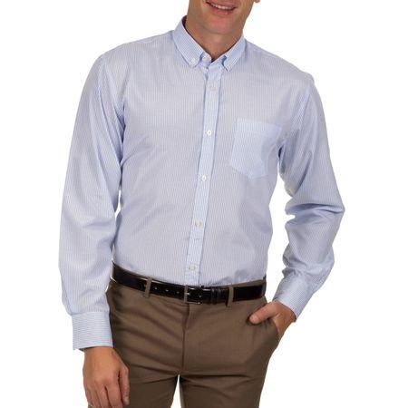 Camisa Social Masculina Azul Claro Listrada