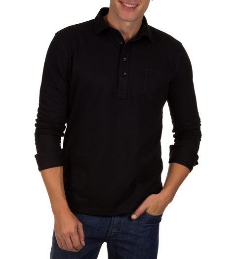 Camisa-Polo-Masculina-Preto-Lisa
