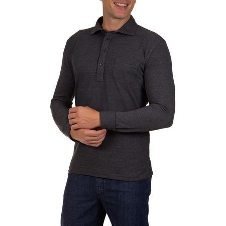 Camisa Polo Masculina Cinza Escuro Lisa