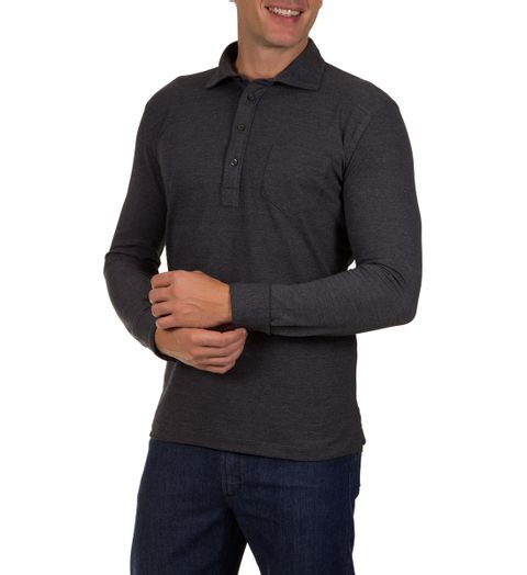 Camisa-Polo-Masculina-Cinza-Escuro-Lisa