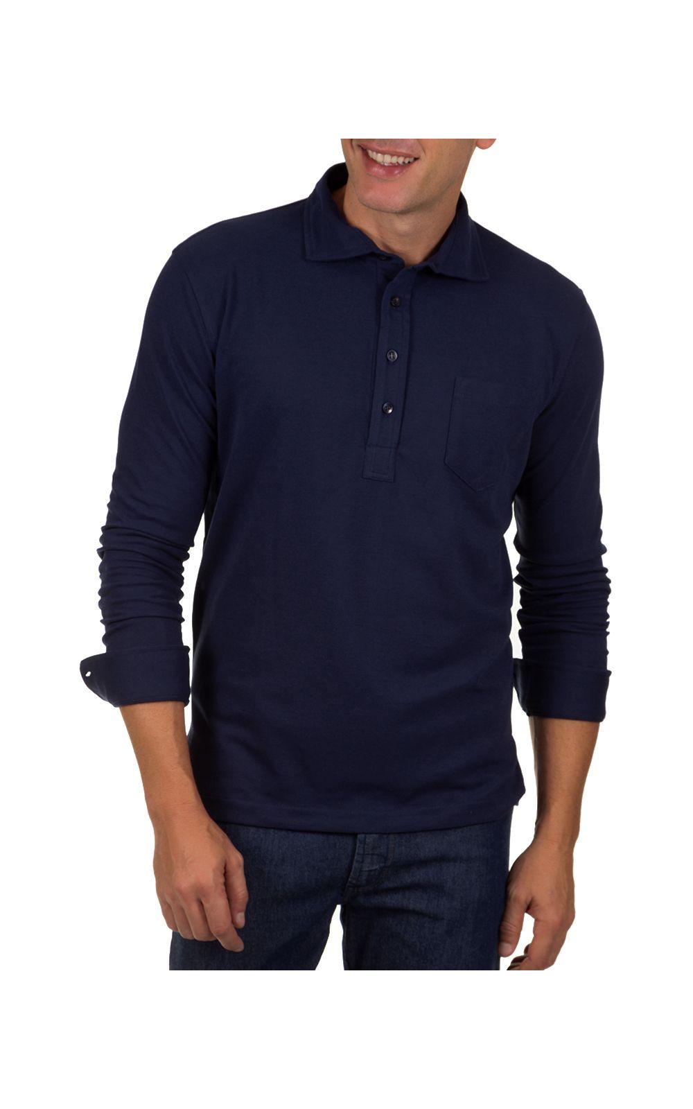 Foto 1 - Camisa Polo Masculina Azul Escuro Lisa