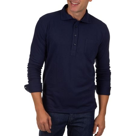 Camisa Polo Masculina Azul Escuro Lisa