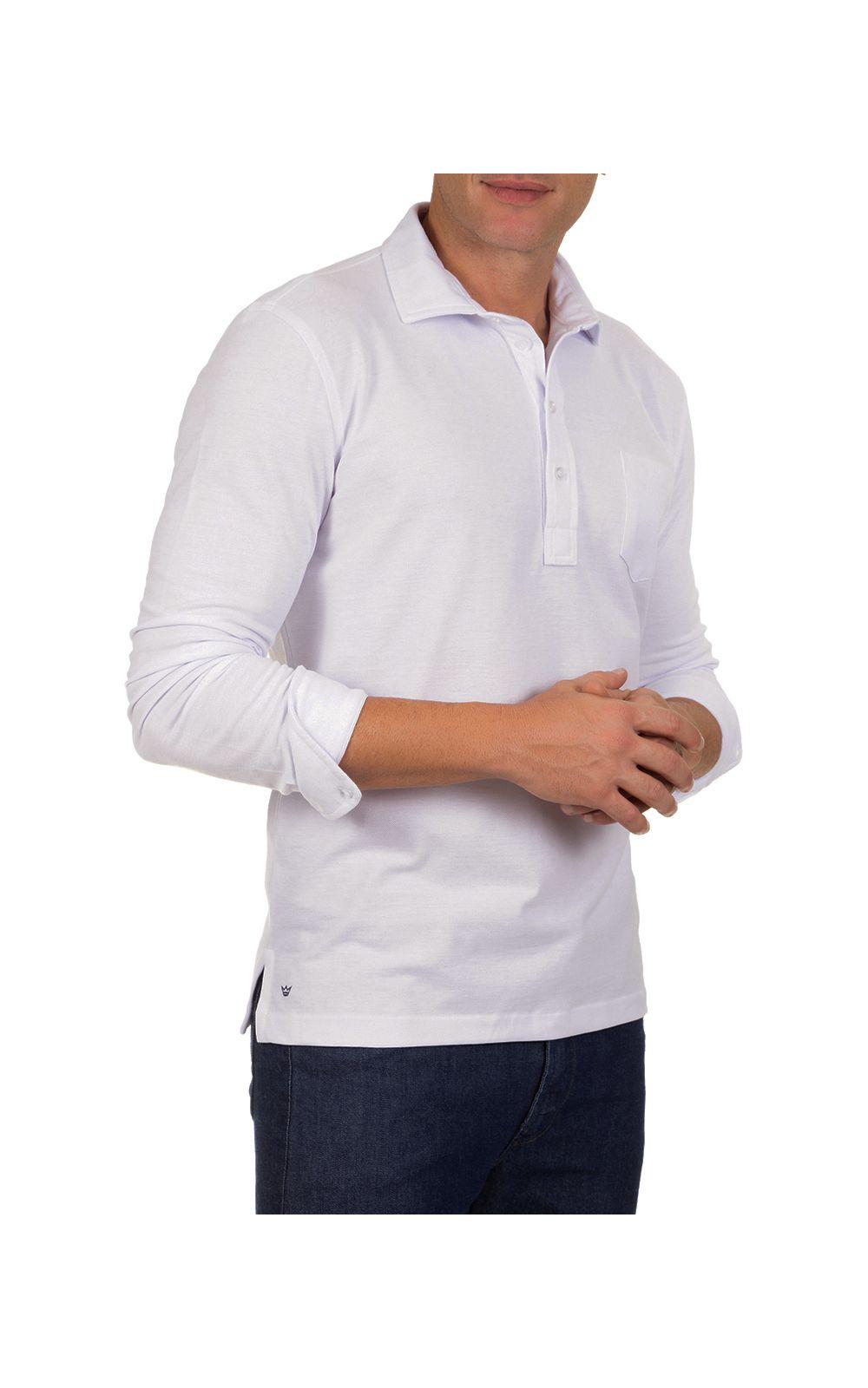 c93349b2fd Camisa Polo Masculina Branca Lisa