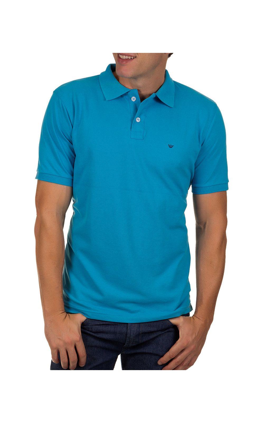 Foto 1 - Camisa Polo Masculina Azul Claro Lisa