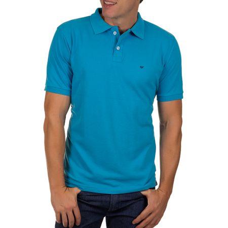 Camisa Polo Masculina Azul Claro Lisa