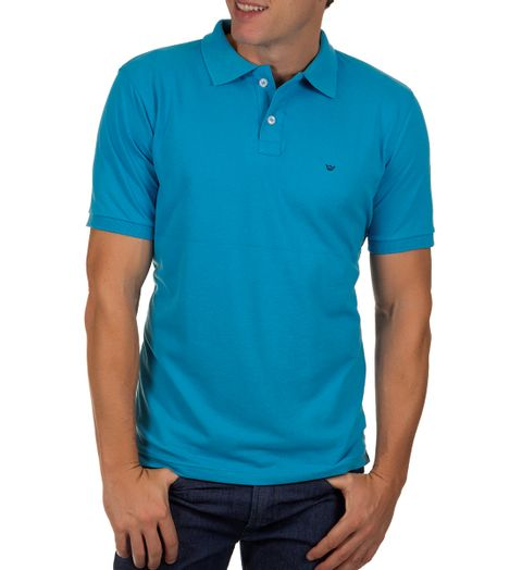 Camisa-Polo-Masculina-Azul-Claro-Lisa