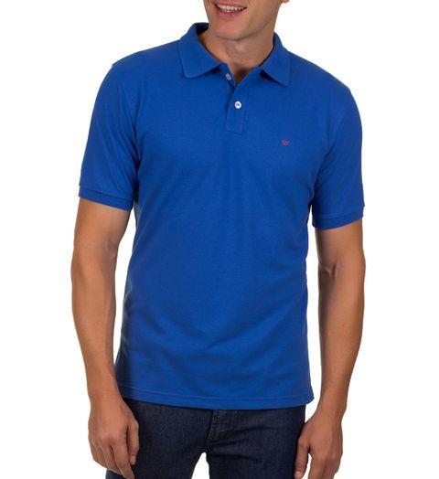 Camisa-Polo-Masculina-Azul-Escuro-Lisa
