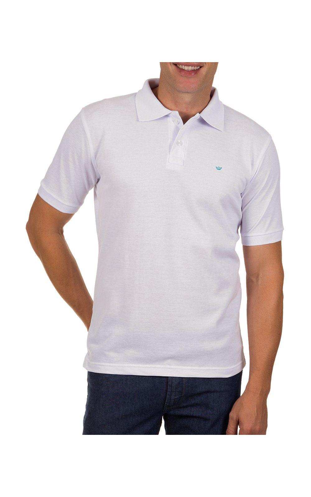 Foto 1 - Camisa Polo Masculina Branca Lisa