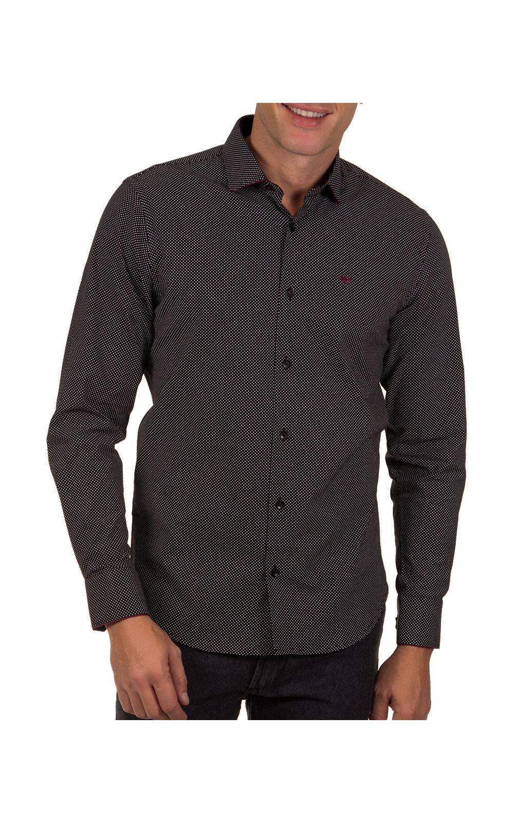 Foto 1 - Camisa Social Masculina Preto Detalhada