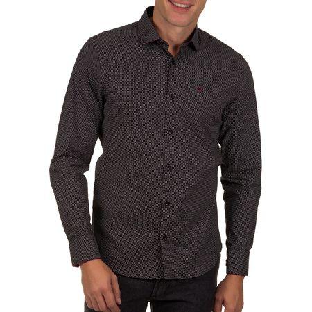 Camisa Social Masculina Preto Detalhada