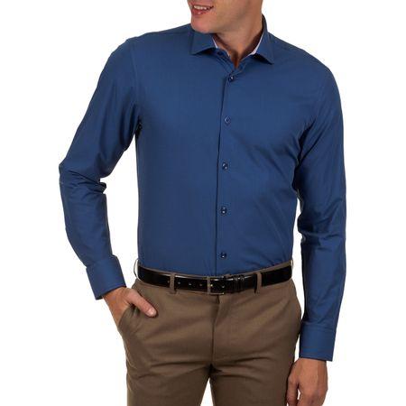 Camisa Social Masculina Azul Escuro Lisa