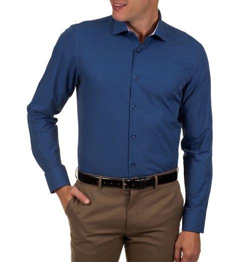 62bbf548fb Camisa Social Masculina Azul Escuro Lisa