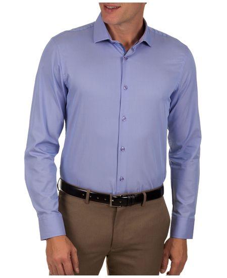 Camisa-Social-Masculina-Azul-Lisa