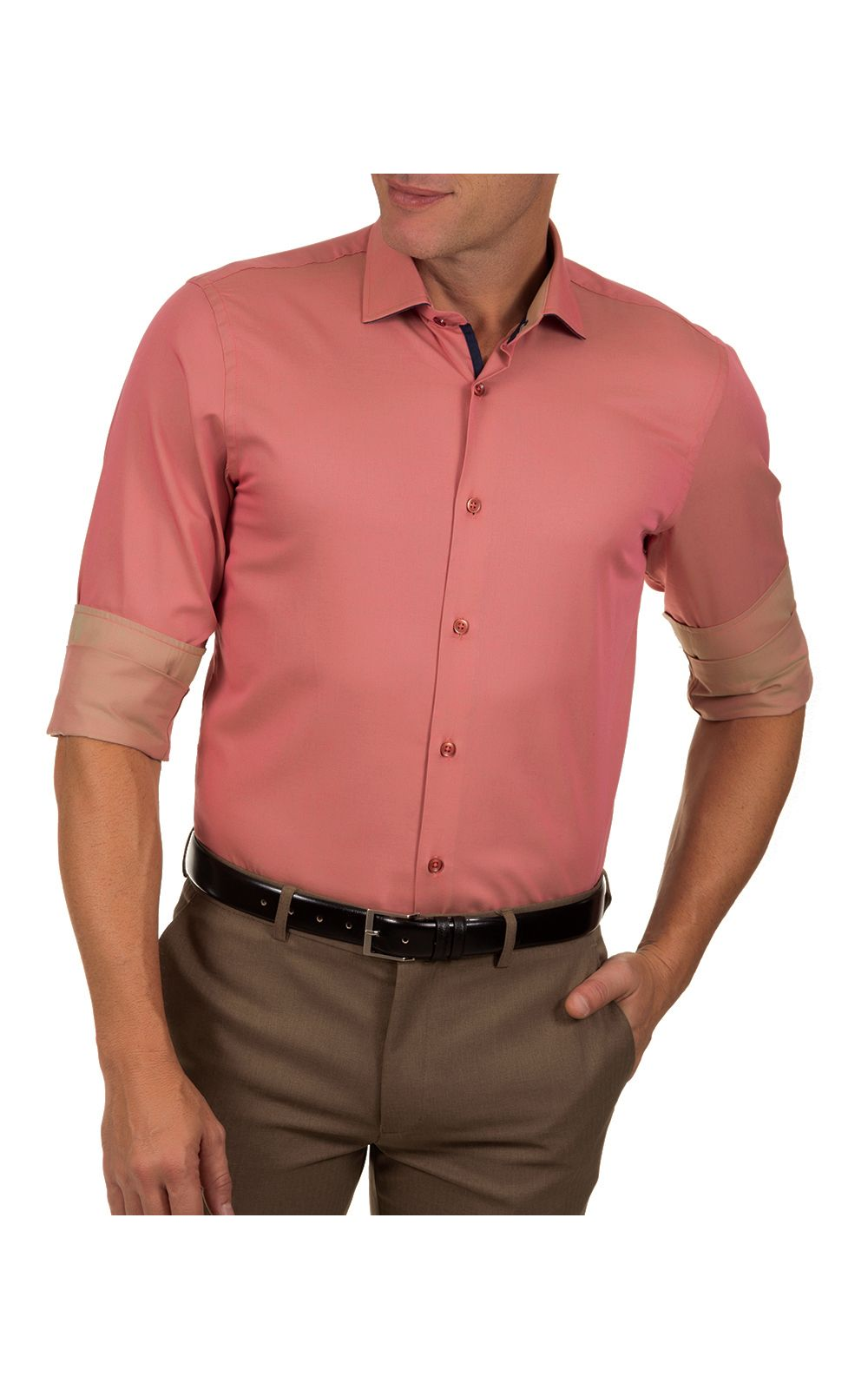 Foto 1 - Camisa Social Masculina Vermelho Lisa