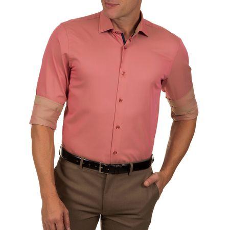 Camisa Social Masculina Vermelho Lisa