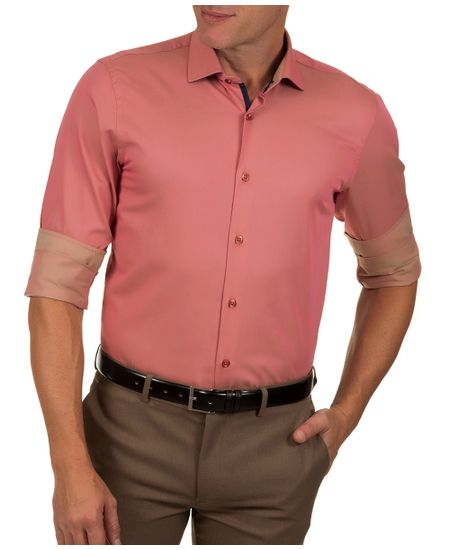 Camisa-Social-Masculina-Vermelho-Lisa