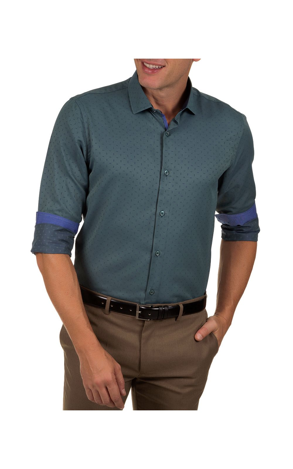 Foto 1 - Camisa Social Masculina Azul Escuro Detalhada