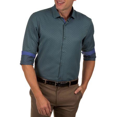 Camisa Social Masculina Azul Escuro Detalhada
