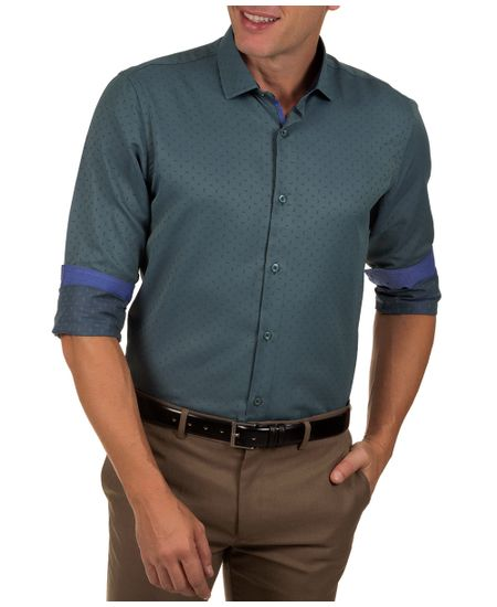 Camisa-Social-Masculina-Azul-Escuro-Detalhada