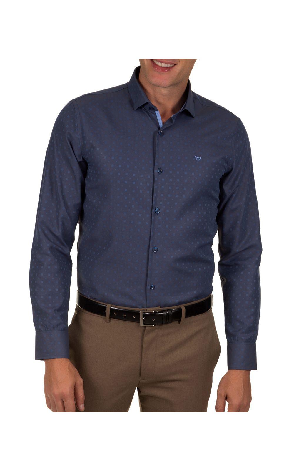 Foto 1 - Camisa Social Masculina Azul Detalhada