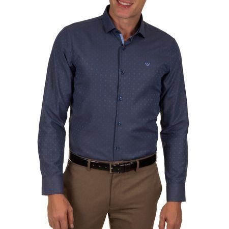 Camisa Social Masculina Azul Detalhada