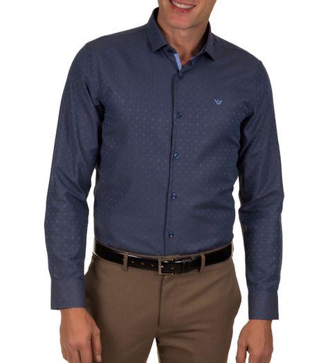 Camisa-Social-Masculina-Azul-Detalhada