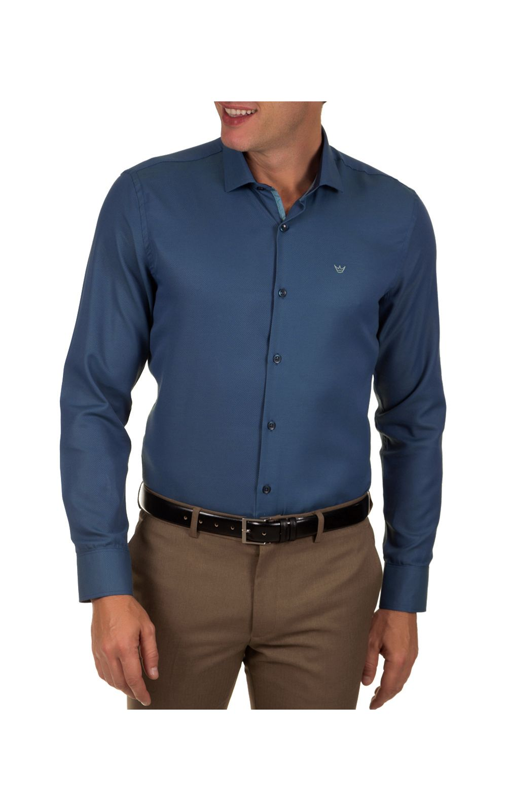 Foto 1 - Camisa Social Masculina Azul Escuro Lisa