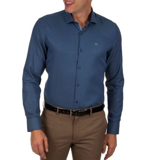 Camisa-Social-Masculina-Azul-Escuro-Lisa